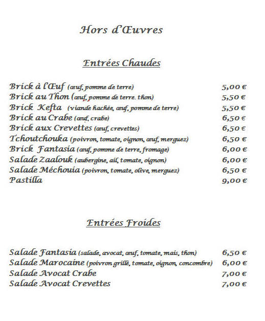 Carte-hors_oeuvre-restaurant-LaFantasia-marocain-77-Pringy